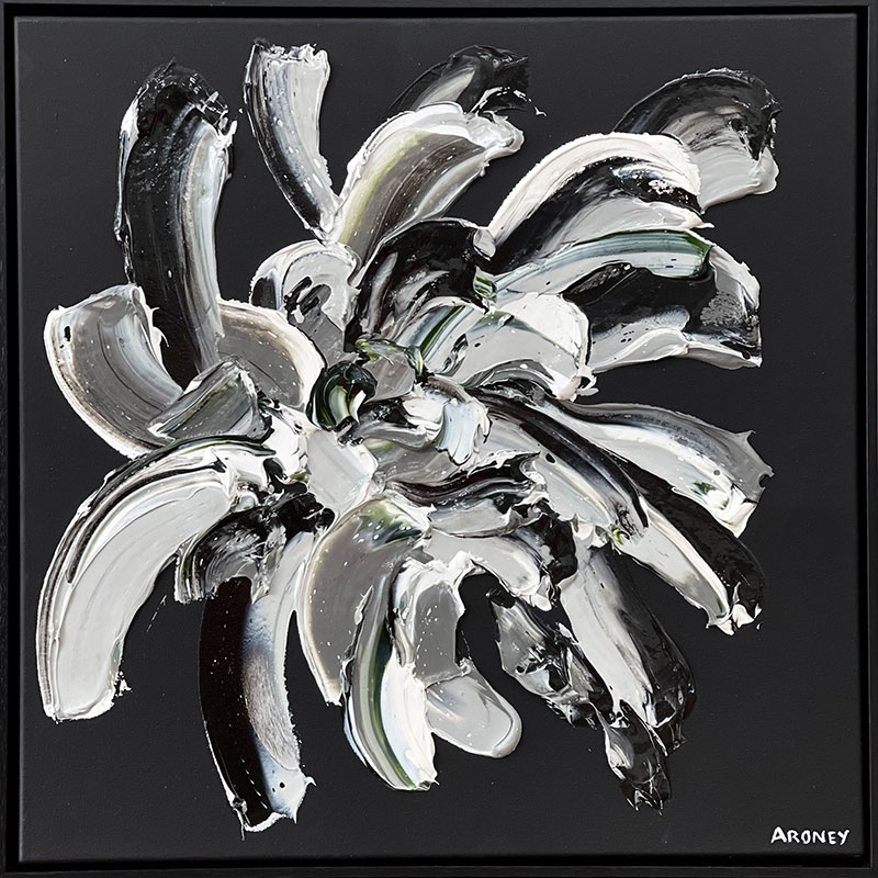 Allure 63x63cm Oil and acrylic on canvas Timber black box framed $1800