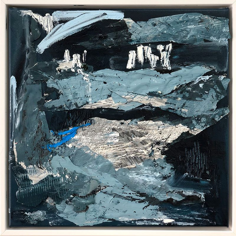Ice bergs 33x33cm Mixed media on canvas white box framed $800