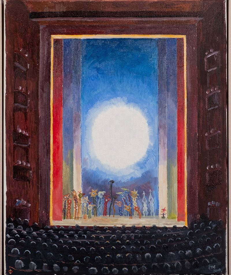 SOLD Theatre with Fireball 40x50cm $950